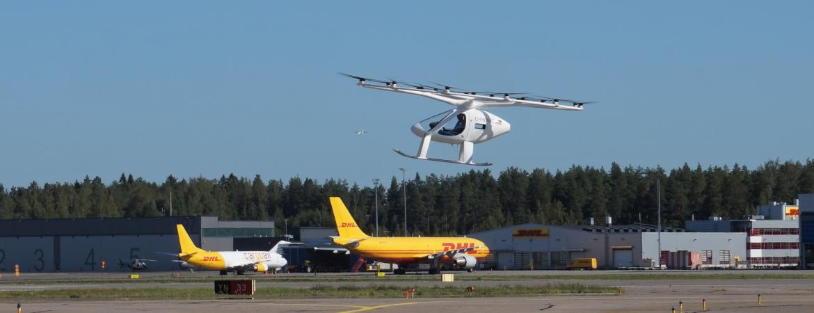 Volocopter performed a successful piloted air taxi flight at the Helsinki International Airport